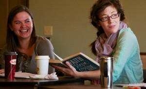 "Christina Muldoon (left) and Heather Pattengale rehearsing for ""It's A Wonderful Life"" at Rosebud Theatre"