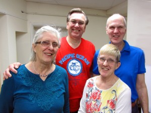 Left to right; back row: Rev. Jim Atkinson, After-Care Ministries; Peter Worsley, MCCA. Front row: Sally Atkinson, After-Care Ministries; Elaine McMurray, Catholic Prison Ministry