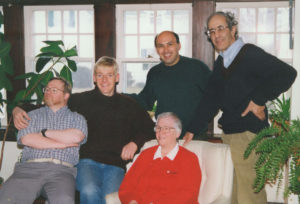 Henri Nouwen (top right), Sue Mosteller (in red) and other residents of L'Arche Daybreak. Photo by Warren Pot
