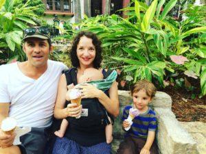 A family ice cream break on the River Walk in San Antonio